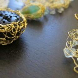 """Wave Necklace: peruvian opals in gold wire w/24"""" gold-filled chain"""