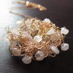"""Moonbeam Necklace: knitted wire with moonstones on a 24"""" gold filled chain"""