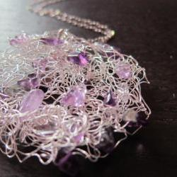 Grape Necklace: amethysts knitted into wire on a sterling silver chain
