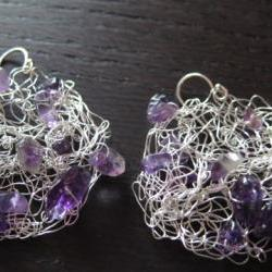 Small Grape Earrings: knitted wire, amethysts and sterling silver ear wires